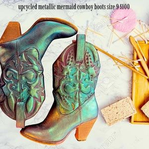 Size 9 Leather Mermaid Inspired Cowboy Boots
